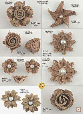 Pin de Margot Jimenez en flores Flores de yute Tutorial