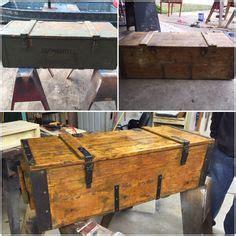 vintage wood box wood chest foot locker lid hinged
