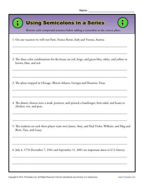 using semicolons in a series semicolon worksheet