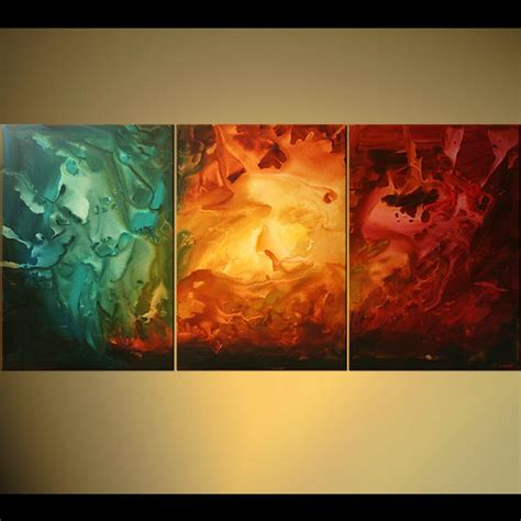 Painting - colorful triptych abstract painting home decor