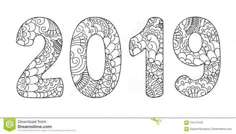 Zen Doodle Patterned Number 2019 Middle Stock Vector