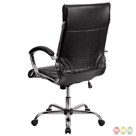 high back designer black leather executive office chair