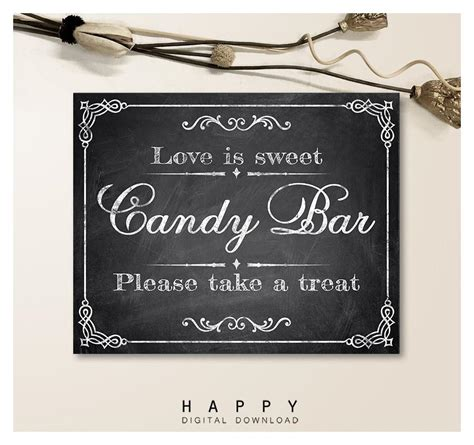 printable chalkboard candy bar wedding sign happy