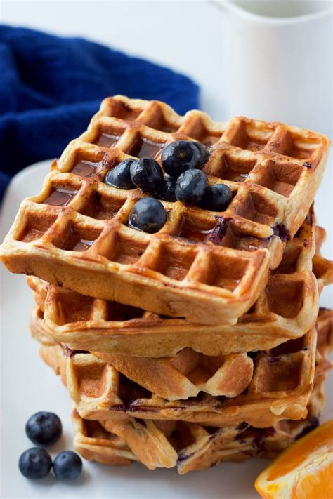 blueberry waffle whole wheat blueberry waffles family food on the table