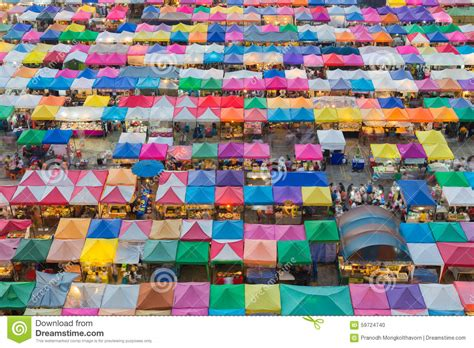 aerial view of color roof to flea market on