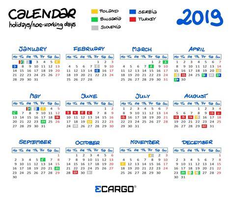 2019 Calendar Working Days