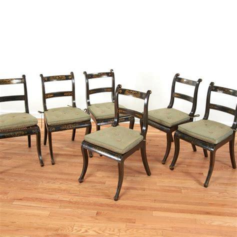 set 6 black painted regency dining chairs