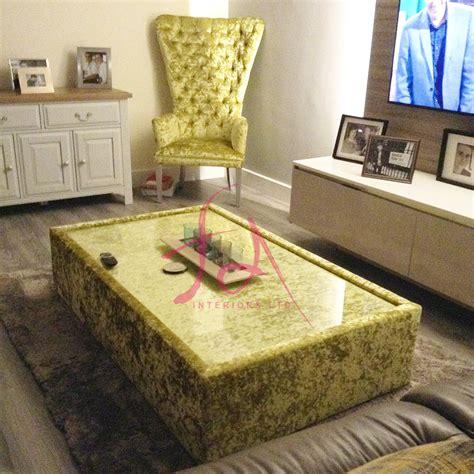 bespoke crushed velvet glass coffee table
