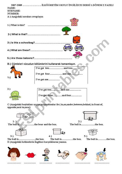 worksheets 4th grade esl kidz activities