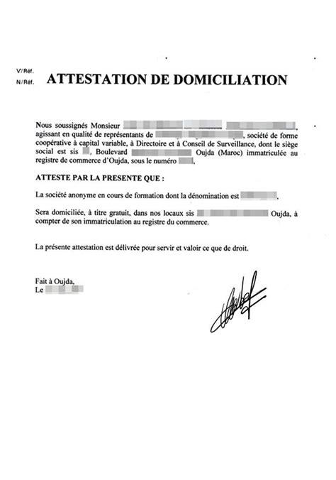 domiciliation siege social formulaire d 39 attestation de domicile