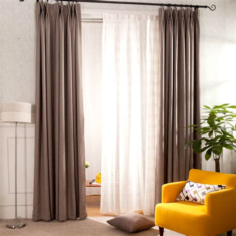 coffee solid cotton linen curtain panels eco friendly