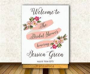 Bridal shower welcome sign printable floral welcome sign for Wedding shower signs