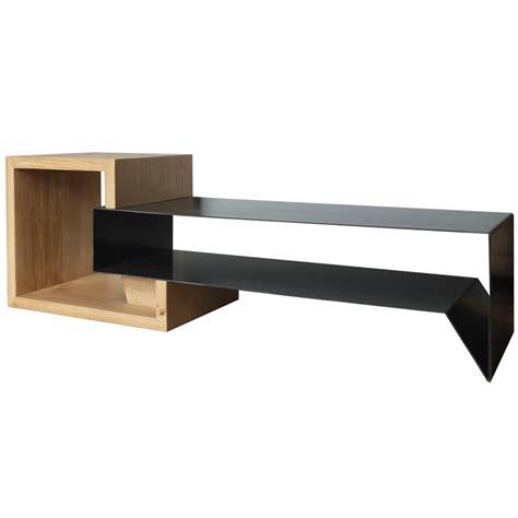 petit bureau noir meuble tv en métal et bois konnect atelier mobibois