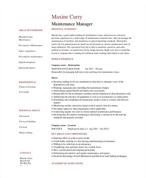 Maintenance Supervisor Resume by Maintenance Resume 9 Free Word Pdf Documents