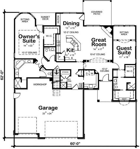 central living area separating bedroom suites retirement house plans