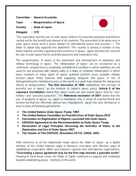 We are sharing the same for research purposes of our readers and followers. Sample Position Paper | United Nations | International Politics