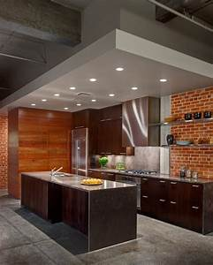 74 stylish kitchens with brick walls and ceilings digsdigs for Best brand of paint for kitchen cabinets with papier peint 3d brique