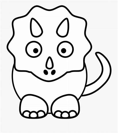Triceratops Dinosaur Coloring Clipart Drawing Easy Dinosaurs