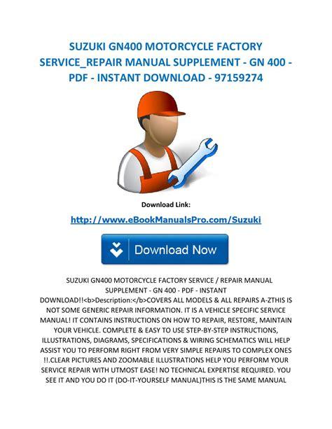 Suzuki Motorcycle Factory Service Repair Manual