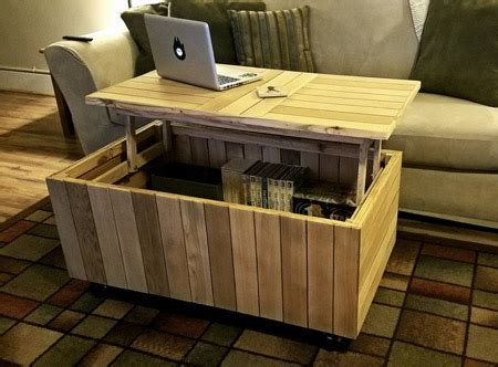 reclaimed pallet coffee table  lift top lid toolswood