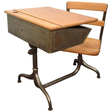 schoolhouse desk and chair child 39 s desk with attached chair for sale at 1stdibs
