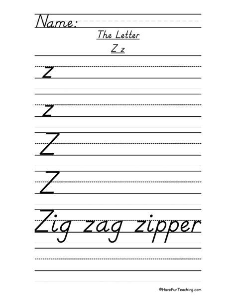letter z handwriting practice d nealian teaching