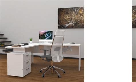 but bureau blanc ensemble bureau d 39 angle moderne blanc laqué wanda