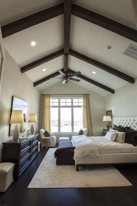 vaulted ceiling master bedroom exposed wood beams transitional bedroom southern living 17710