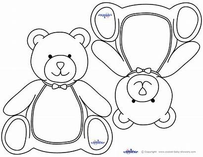Bear Coloring Shower Teddy Pages Template Drawing