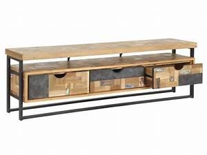Tv Lowboard Metall : tv regal im industriedesign lowboard aus metall und holz mit drei schubladen l nge 175 cm ~ Indierocktalk.com Haus und Dekorationen