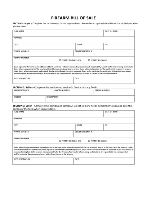 firearm forms canada firearm bill of sale form 7 free templates in pdf word