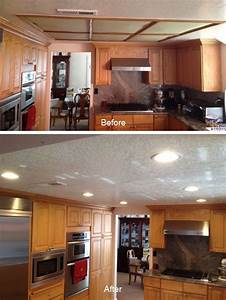 Kitchen soffit lighting with recessed lights