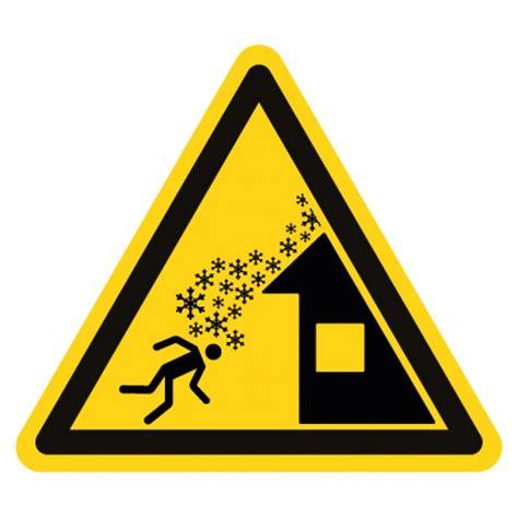 pictogramme danger chute de neige du toit iso