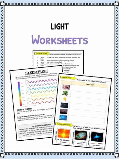 light facts worksheets  kids types speed  light
