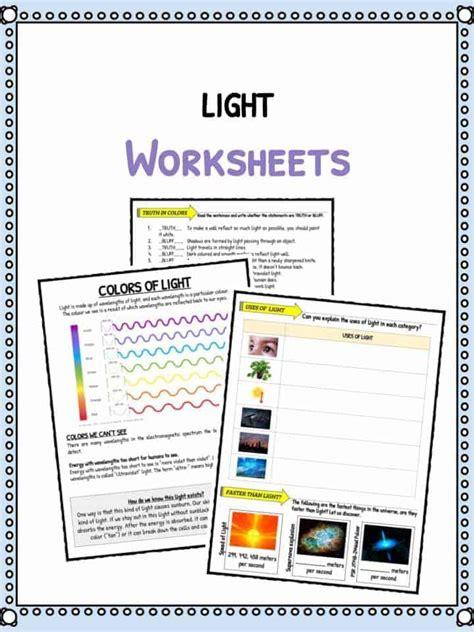 light facts worksheets  kids types speed  light