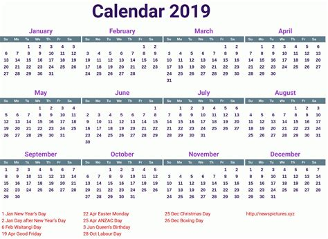 printable yearly calendar  canada printable calendar