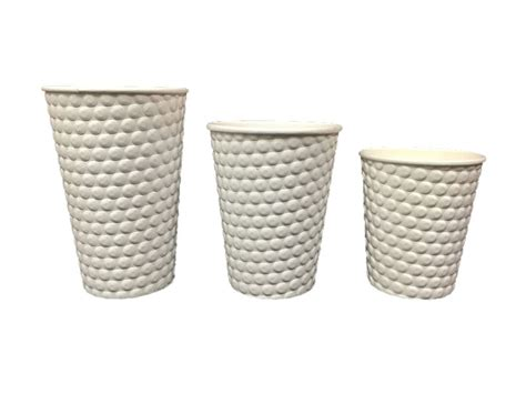 Double wall insulated hot cups use an additional paper layer on the surface of a heavy weight. White Embossed Double Wall Cup 8oz/250mL | Just Coffee Cups
