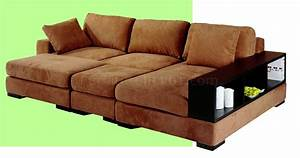 Beige microfiber sectional sofa w 2 ottomans bookcase for Barcelona sectional sofa ottoman in beige