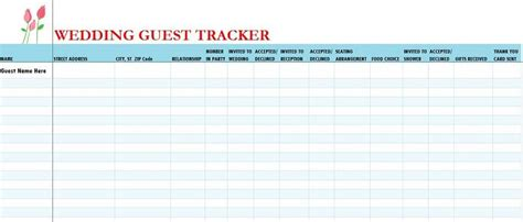 Wedding Guest List Template 37 Free Beautiful Wedding Guest List Itinerary Templates