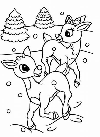 Rudolph Coloring Pages Clarice Reindeer Christmas Printable