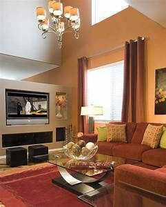 Pretty Living Room With Beige Accents Wall Feat Brown