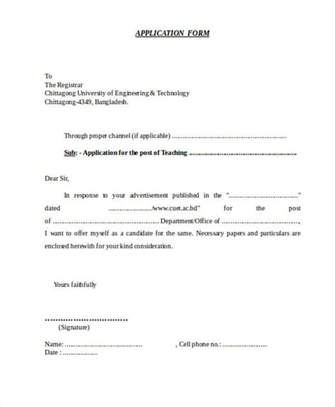 Letter Of Application For Teaching Post by 52 Application Letter Exles Sles Pdf Doc
