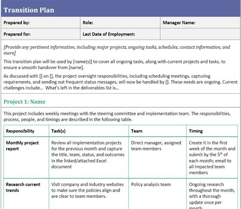 transition plan examples transition plan template for when you 39 ve resigned