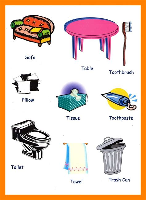 household items vocabulary  kids