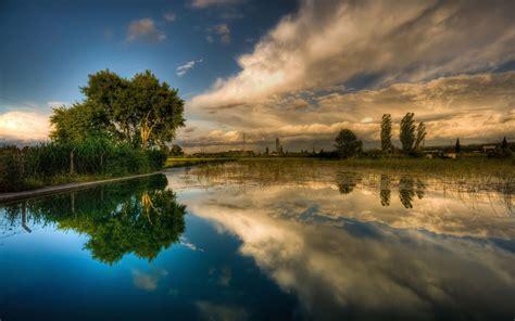 Background Lake Sky Reflecting Hd Wallpaper 15903 ...