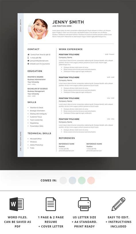 Standard Resume Template Word by Resume Template Word Modern Clean Cv Standard Ready Print