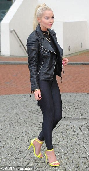 helen flanagan shows   heavily contoured cheeks   steps   black  promote