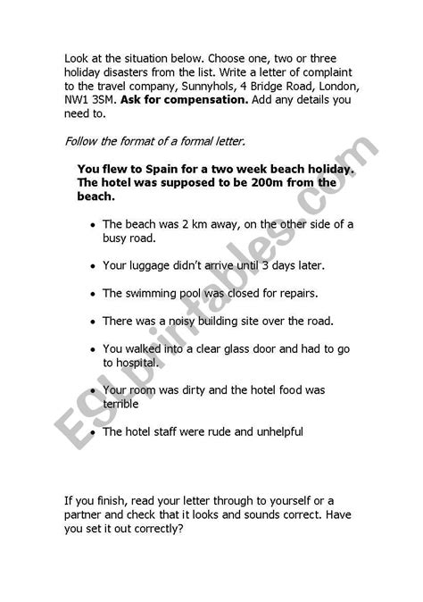 Writing a formal complaint letter - ESL worksheet by nikiking