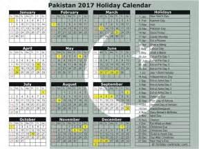 2017 Calendar with Holidays Pakistan