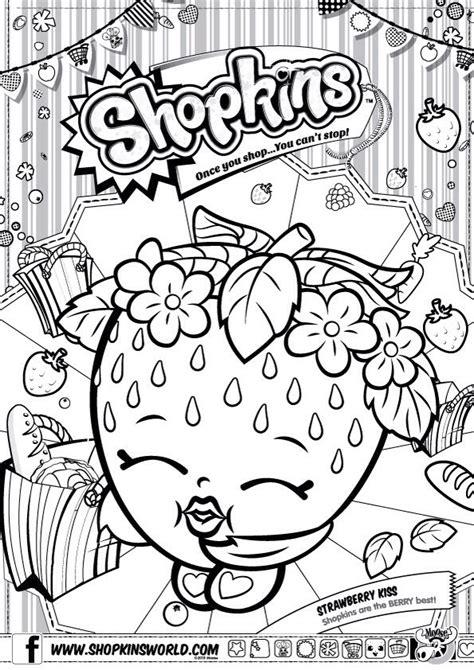 Shopkins Colour Color Page Strawberry Kiss ShopkinsWorld